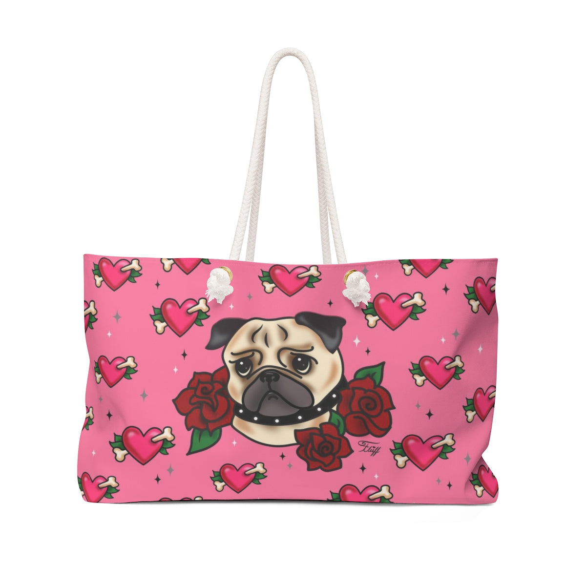 Tattoo Pug with Roses on Pink  • Weekender Bag