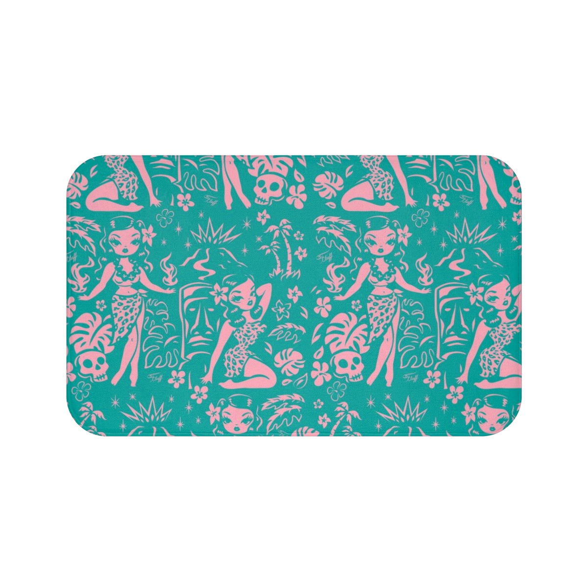 Tiki Temptress - Aqua and Pink • Bath Mat