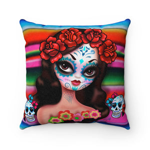 Day of the Dead Girl on Sarape • Faux Suede Pillow