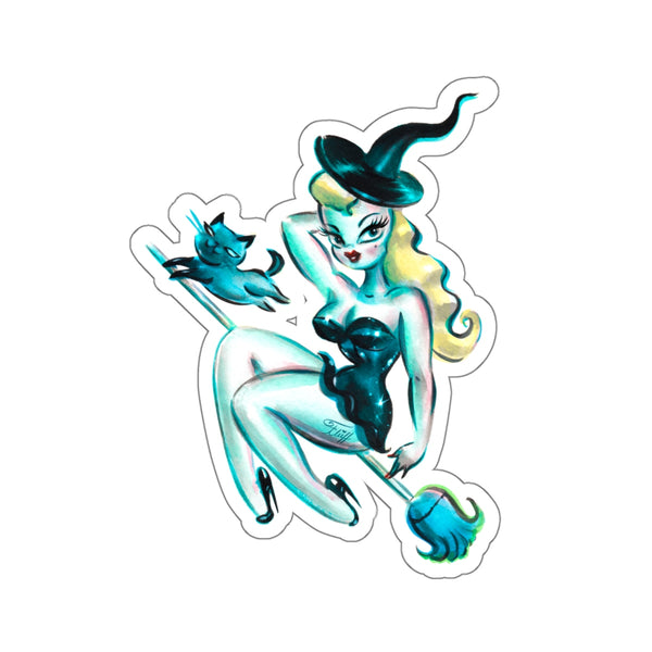 Blonde Witch with Kitty • Kiss-Cut Sticker