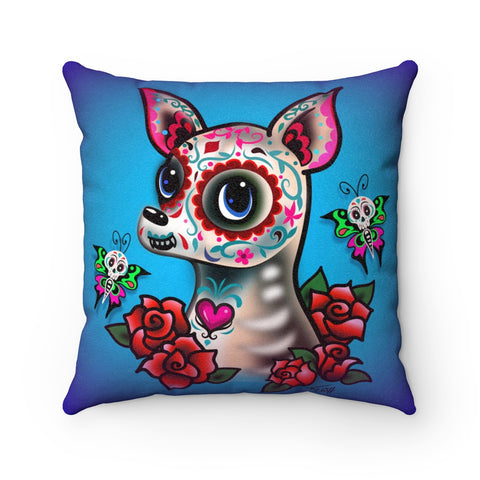 Sugar Skull Chihuahua Blue • Faux Suede Pillow