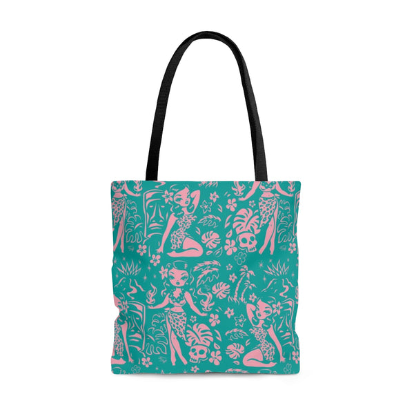 Tiki Temptress - Aqua and Pink • Tote Bag