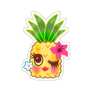 Happy Kawaii Pineapple Winking • Kiss-Cut Sticker