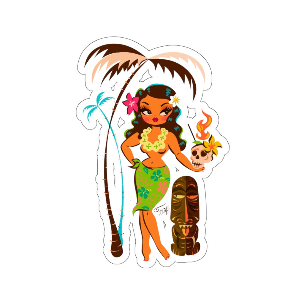 Tiki Temptress • With Skull Mug Cocktail • Kiss-Cut Sticker