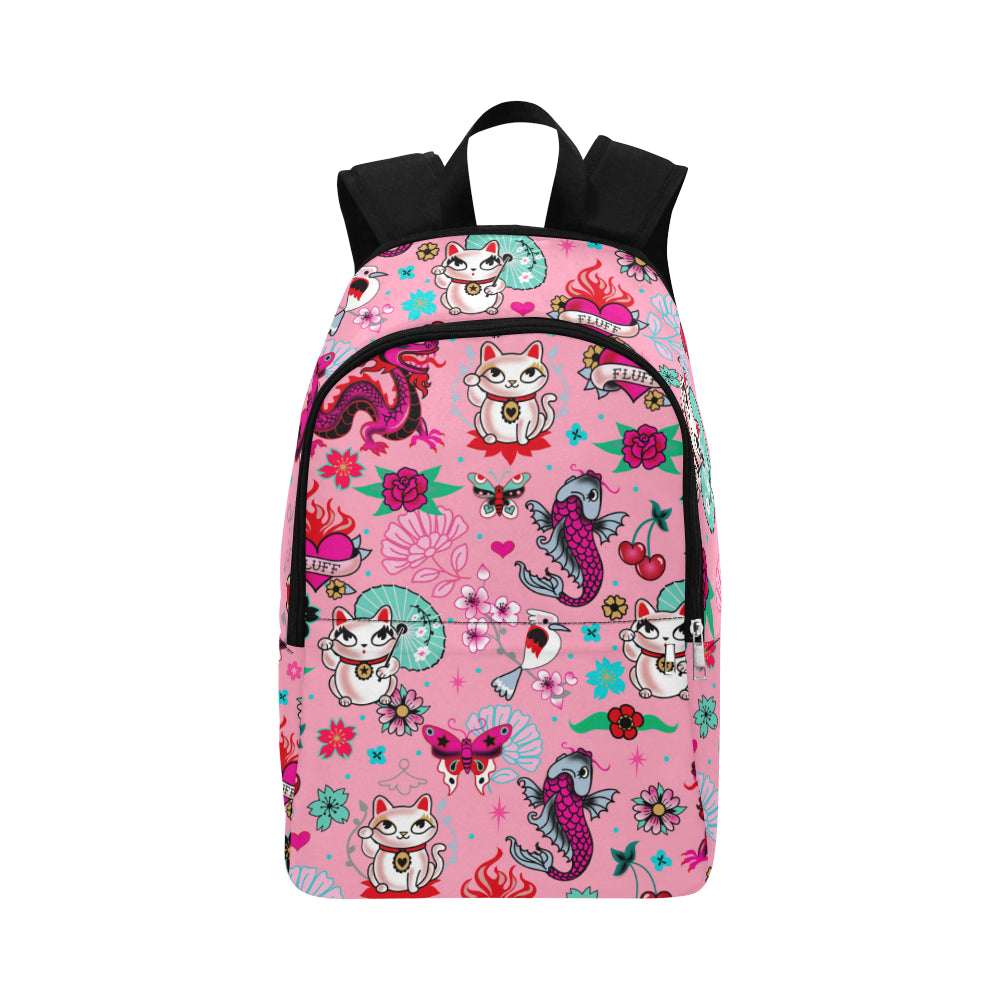 Lucky Kitty on Pink • Backpack