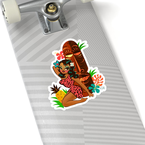 Tiki Temptress in Pink Leopard Print • Kiss-Cut Sticker with Pineapple