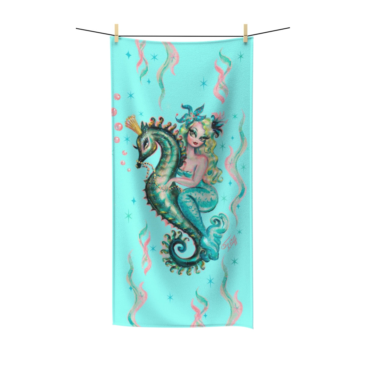 Blue Mermaid Riding a Seahorse Prince Aqua • Towel