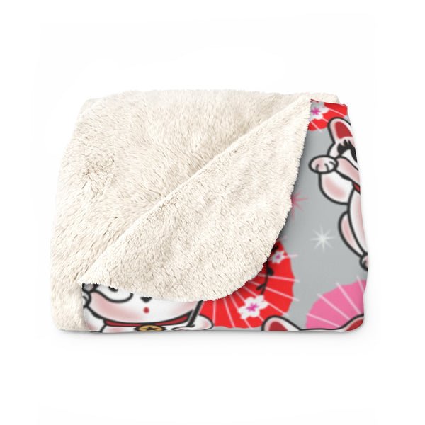 Kyoto Kitty Grey • Sherpa Fleece Blanket