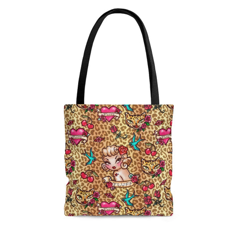 Lady Leopard Tattoo Flash • Tote Bag