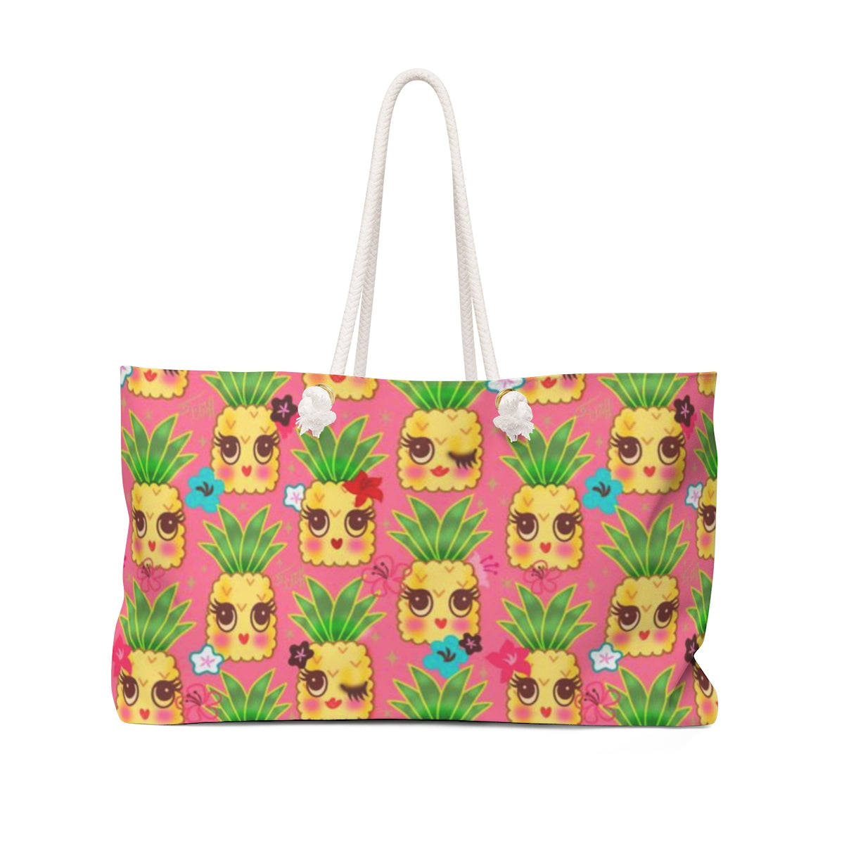 Happy Kawaii Cute Pineapples on Pink • Weekender Bag