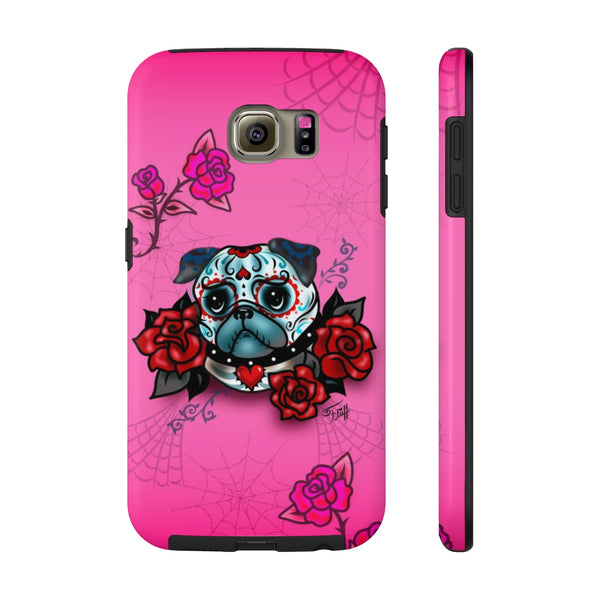 Sugar Skull Pug With Roses • Phone Case