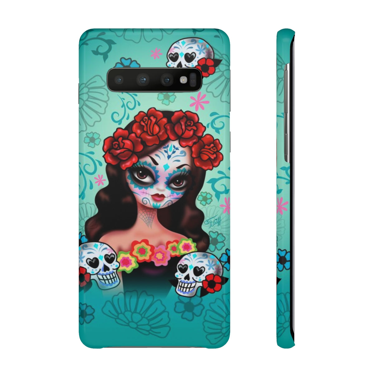 Sugar Skull Girl with Roses • Samsung Galaxy Phone Case