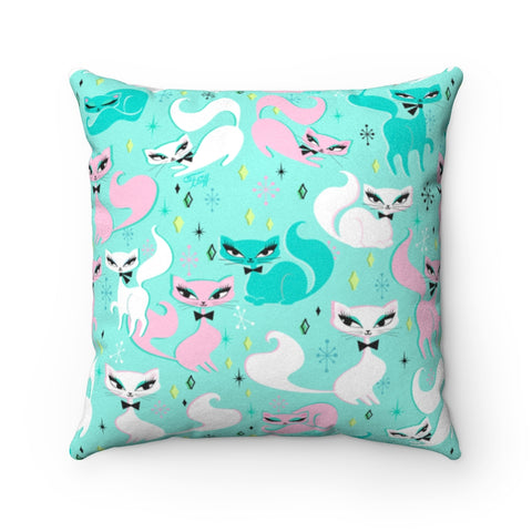 Swanky Kittens on Mint • Faux Suede Pillow