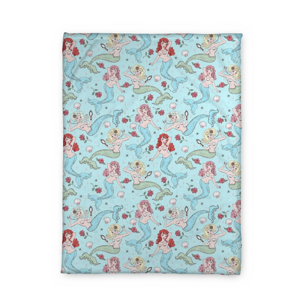 Mermaids and Roses on Aqua • Fleece Blanket