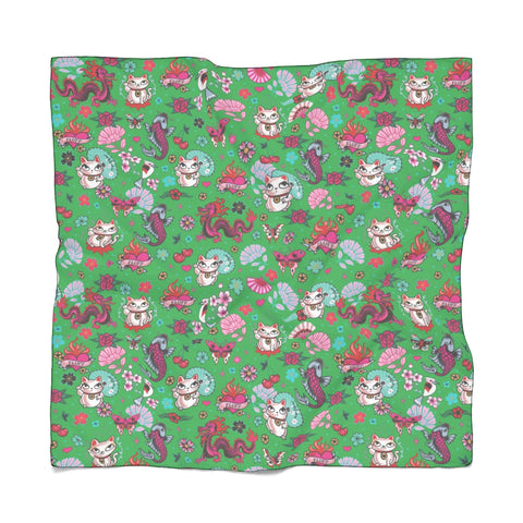 Lucky Cat on Green • Chiffon Scarf