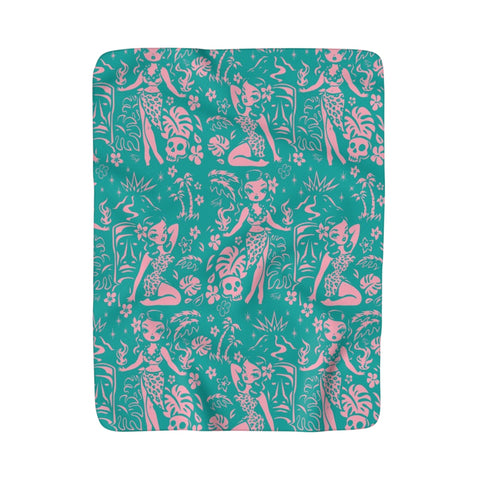 Tiki Temptress - Aqua and Pink • Sherpa Fleece Blanket