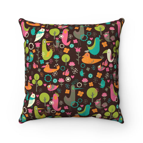 Birdsville on Chocolate • Square Pillow