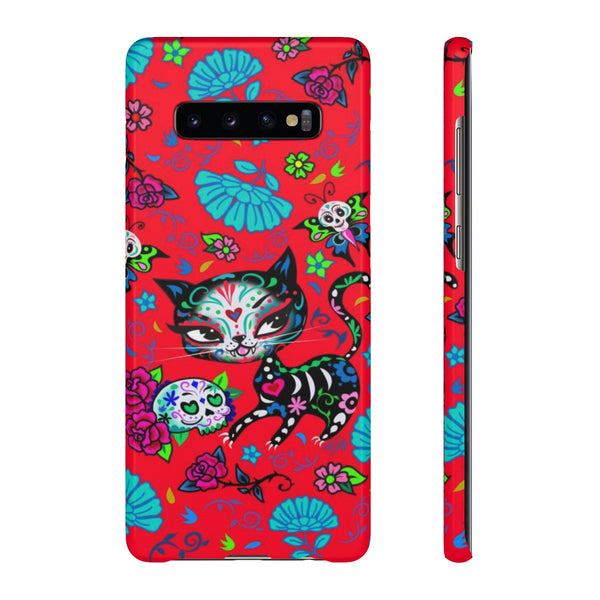 Sugar Skull Kitty on Red • Samsung Galaxy Phone Case