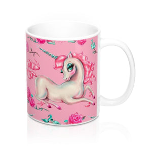Unicorns and Roses on Pink • Mug 11oz