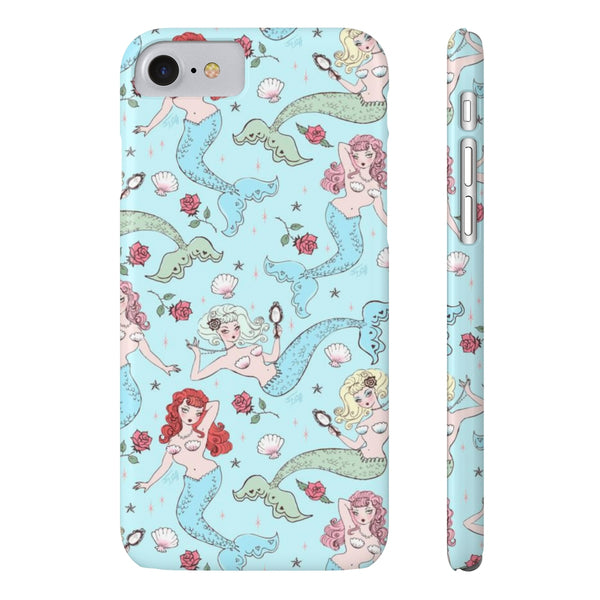 Mermaids and Roses on Aqua • Slim Phone Case