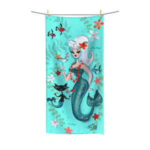 Blonde Martini Mermaid with Merkitty • Towel
