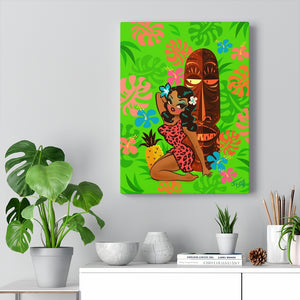 Tiki Temptress in Pink Leopard Print • Canvas Gallery Wrap