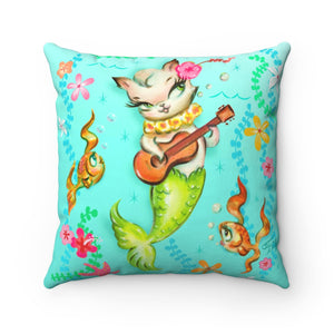 Mermaid Cat with Ukulele • Square Pillow