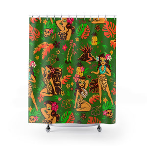 Tiki Temptress on Green • Shower Curtain