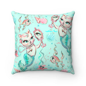 Merkittens with Pearls Aqua • Square Pillow