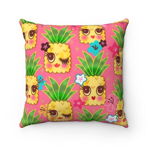 Happy Kawaii Cute Pineapples on Pink • Square Pillow