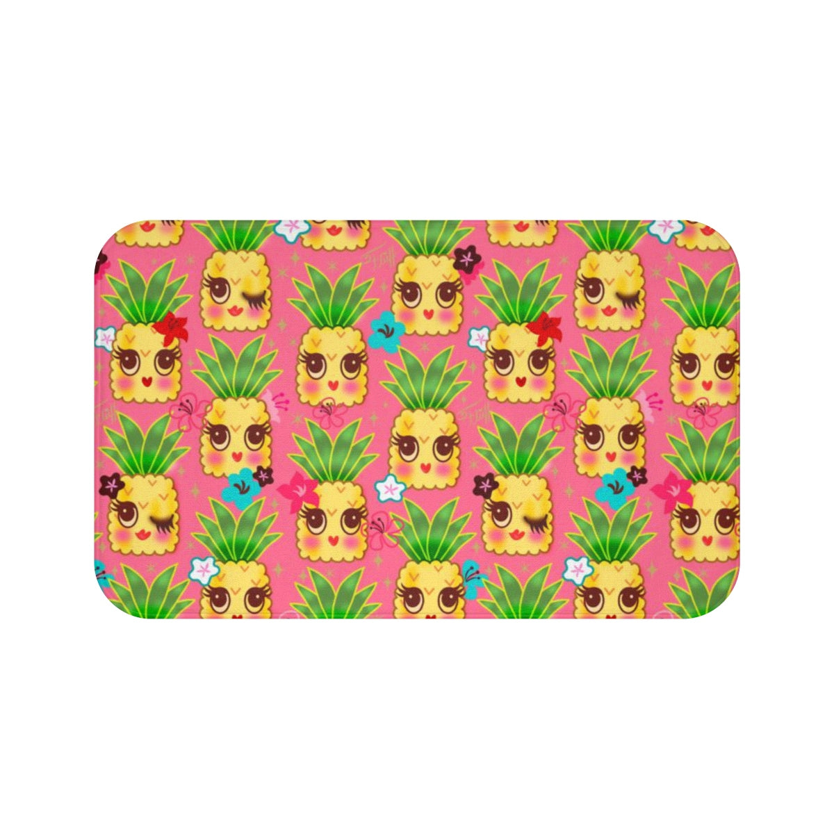 Happy Kawaii Cute Pineapples on Pink • Bath Mat