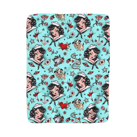 Suzy Sailor Girl on Light Blue • Sherpa Fleece Blanket