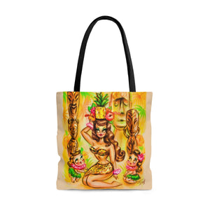 Pineapple Island Girl with Tikis • Tote Bag