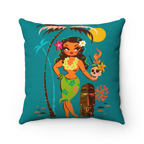 Tiki Temptress • With Skull Mug • Faux Suede Pillow