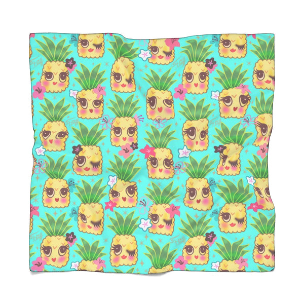 Happy Kawaii Cute Pineapples on Aqua • Scarf