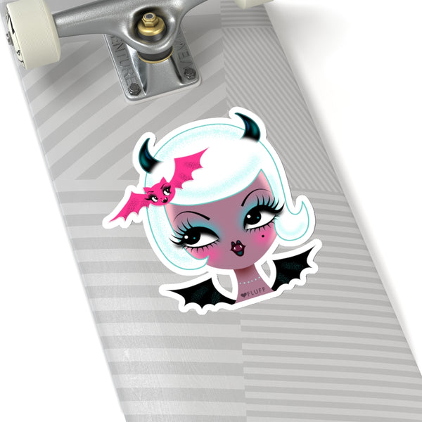 Vampire Dolly with Cute Bat • Kiss-Cut Sticker