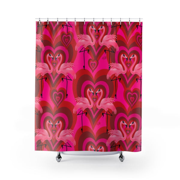 Flamingo Love Pattern • Shower Curtain