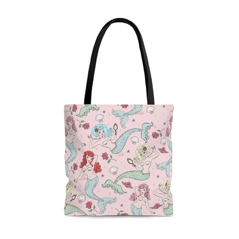 Mermaids and Roses on Pink • Tote Bag2