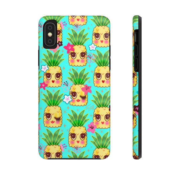 Happy Kawaii Cute Pineapples on Aqua • Phone Case