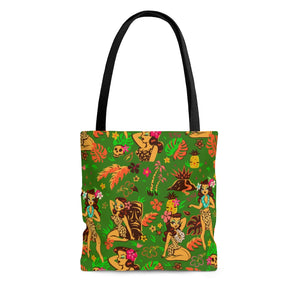 Tiki Temptress on Green • Tote Bag