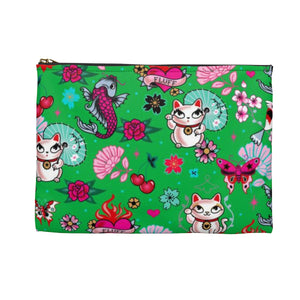 Lucky Cat on Green • Carry All Pouch - Flat