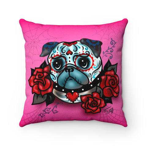 Sugar Skull Pug With Roses on Hot Pink • Faux Suede Pillow