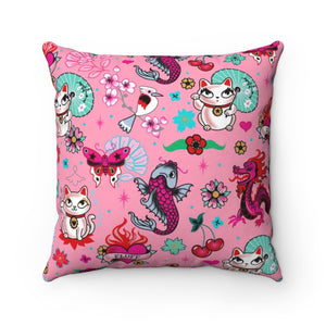 Lucky Kitty on Pink • Square Pillow