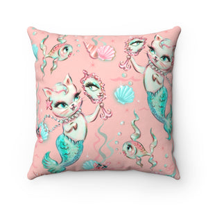 Merkittens with Pearls • Square Pillow