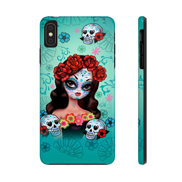 Sugar Skull Girl with Roses • Phone Case