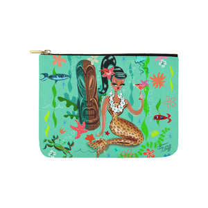 Brunette Leopard Martini Mermaid • Carry All Pouch