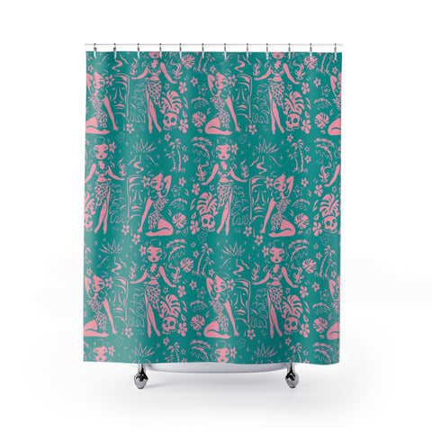Tiki Temptress - Aqua and Pink • Shower Curtain