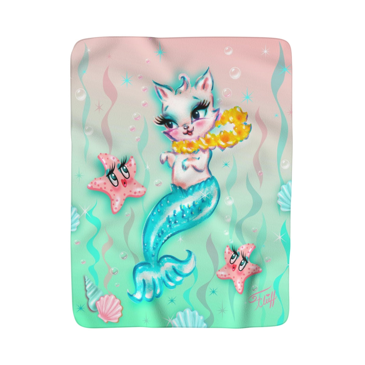 Merkitten with Lei and Starfish • Sherpa Fleece Blanket