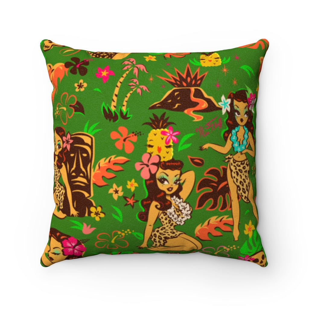 Tiki Temptress on Green • Faux Suede Pillow