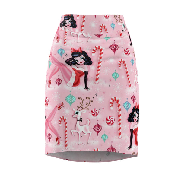 Christmas Pinup Girl • Women's Pencil Skirt